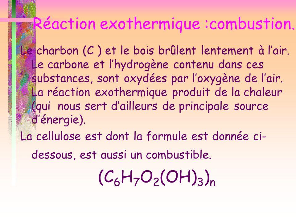 Réaction exothermique :combustion. Le charbon (C ) et le bois brûlent lentement à lair. Le carbone et lhydrogène contenu dans ces substances, sont oxy