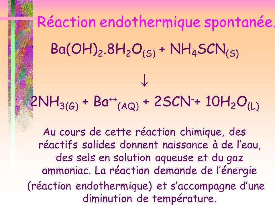 Réaction endothermique spontanée. Ba(OH) 2.8H 2 O (S) + NH 4 SCN (S) 2NH 3(G) + Ba ++ (AQ) + 2SCN - + 10H 2 O (L) Au cours de cette réaction chimique,