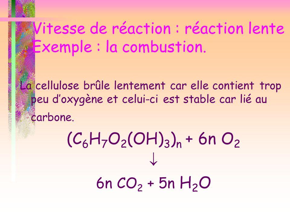 Vitesse de réaction : réaction lente Exemple : la combustion. La cellulose brûle lentement car elle contient trop peu doxygène et celui-ci est stable