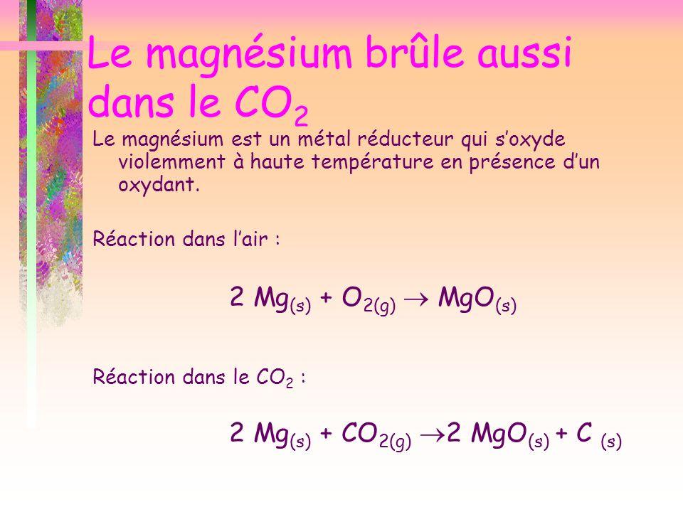 Le magnésium brûle aussi dans le CO 2 Le magnésium est un métal réducteur qui soxyde violemment à haute température en présence dun oxydant. Réaction