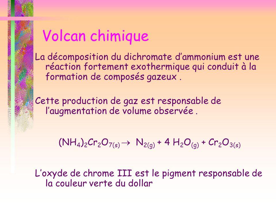 Volcan chimique La décomposition du dichromate dammonium est une réaction fortement exothermique qui conduit à la formation de composés gazeux. Cette