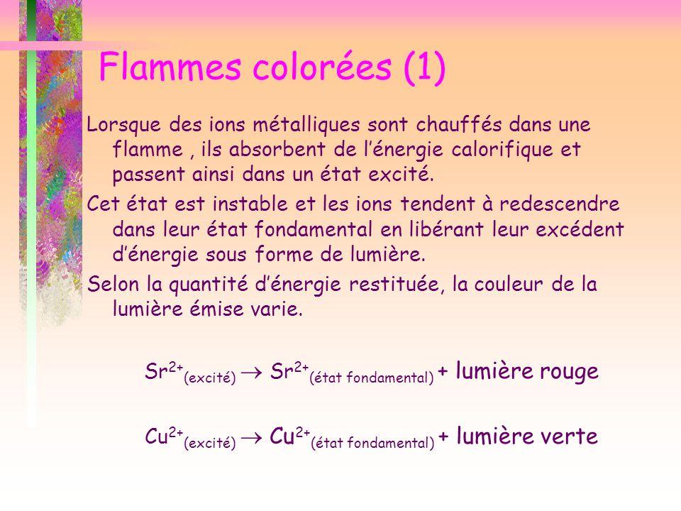 Flammes colorées (1) Lorsque des ions métalliques sont chauffés dans une flamme, ils absorbent de lénergie calorifique et passent ainsi dans un état e