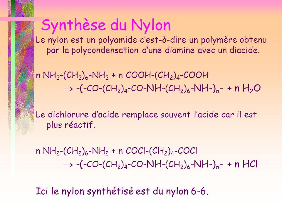 Synthèse du Nylon Le nylon est un polyamide cest-à-dire un polymère obtenu par la polycondensation dune diamine avec un diacide. n NH 2 -(CH 2 ) 6 -NH