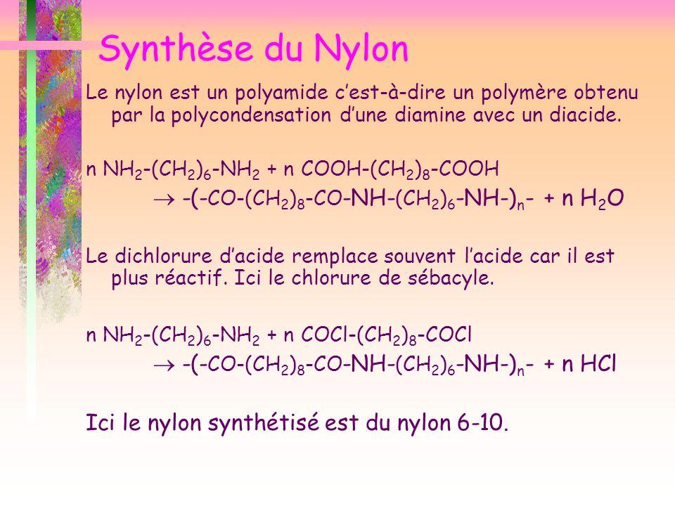 Le nylon est un polyamide cest-à-dire un polymère obtenu par la polycondensation dune diamine avec un diacide. n NH 2 -(CH 2 ) 6 -NH 2 + n COOH-(CH 2