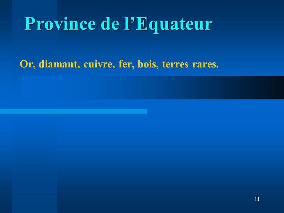 11 Or, diamant, cuivre, fer, bois, terres rares. Province de lEquateur Province de lEquateur