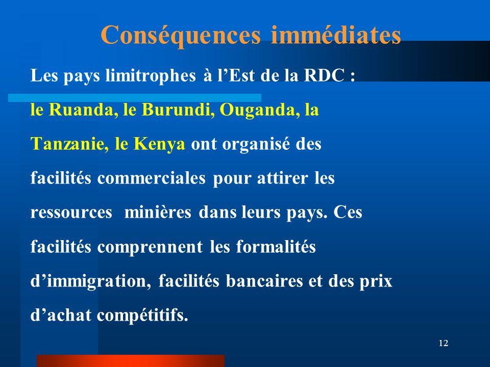 12 Conséquences immédiates Les pays limitrophes à lEst de la RDC : le Ruanda, le Burundi, Ouganda, la Tanzanie, le Kenya ont organisé des facilités co