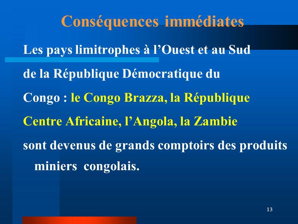 13 Conséquences immédiates Les pays limitrophes à lOuest et au Sud de la République Démocratique du Congo : le Congo Brazza, la République Centre Afri