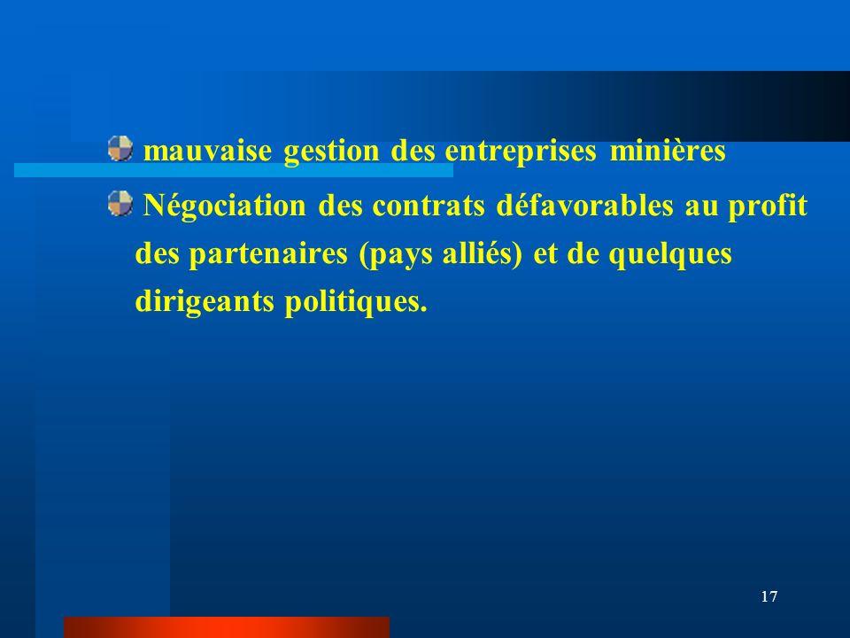 17 mauvaise gestion des entreprises minières Négociation des contrats défavorables au profit des partenaires (pays alliés) et de quelques dirigeants p