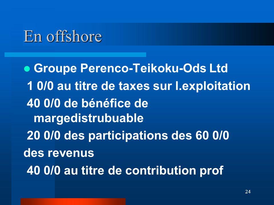 24 En offshore Groupe Perenco-Teikoku-Ods Ltd 1 0/0 au titre de taxes sur l.exploitation 40 0/0 de bénéfice de margedistrubuable 20 0/0 des participat