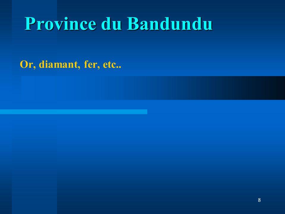 9 Phosphate, or, manganèse, aluminium, cuivre, plomb, argent, hydrocarbures, Province du Bas Congo