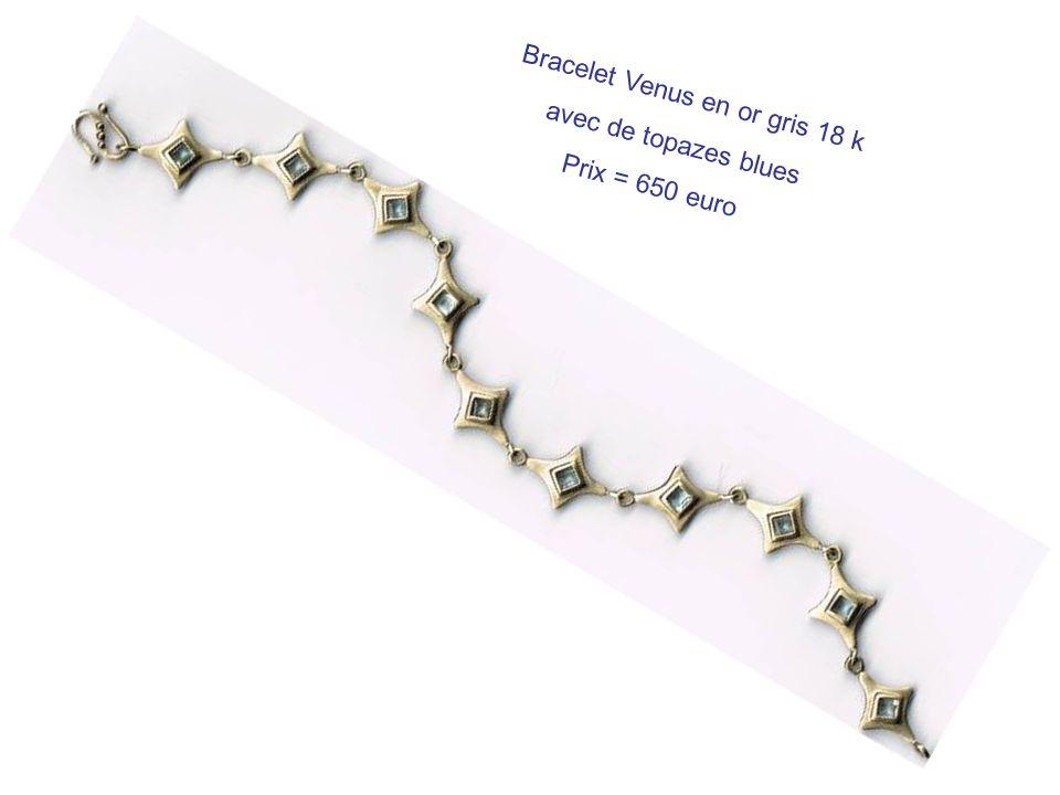 Bracelet Venus en or gris 18 k avec de topazes blues Prix = 650 euro
