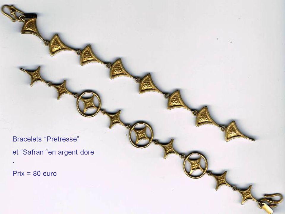 Bracelets Pretresse et Safran en argent dore. Prix = 80 euro