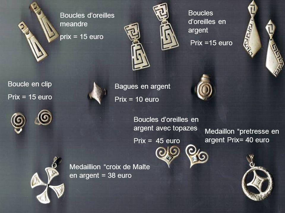 Boucles doreilles en argent avec topazes Prix = 45 euro Boucles doreilles en argent Prix =15 euro Medaillion croix de Malte en argent = 38 euro Medail