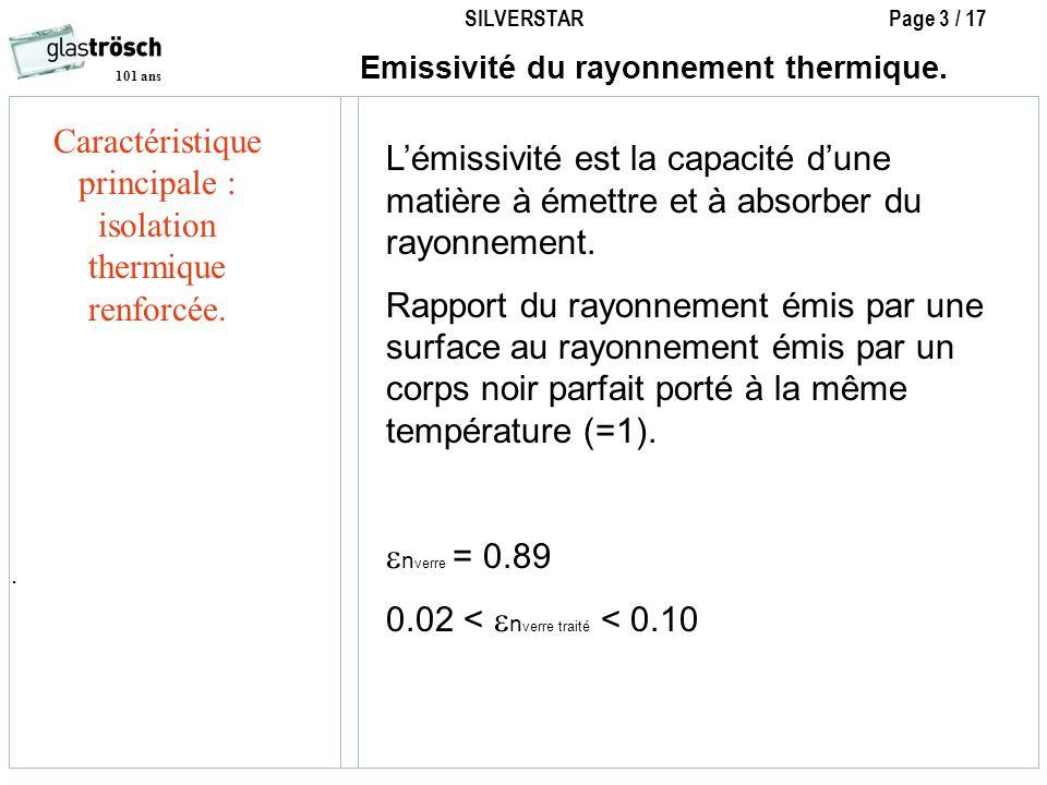 SILVERSTAR Page 3 / 17 101 ans Emissivité du rayonnement thermique.. Lémissivité est la capacité dune matière à émettre et à absorber du rayonnement.