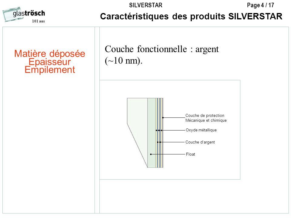 SILVERSTAR Page 4 / 17 101 ans Caractéristiques des produits SILVERSTAR Oxyde métallique Float Couche de protection Mécanique et chimique Couche darge