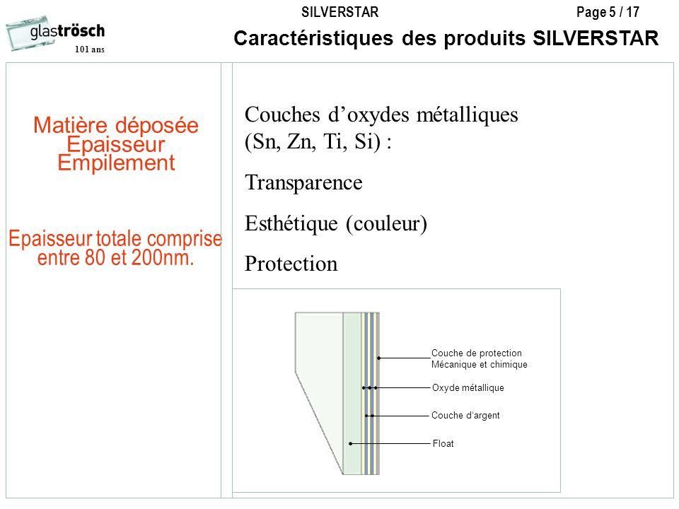 SILVERSTAR Page 5 / 17 101 ans Caractéristiques des produits SILVERSTAR Oxyde métallique Float Couche de protection Mécanique et chimique Couche darge