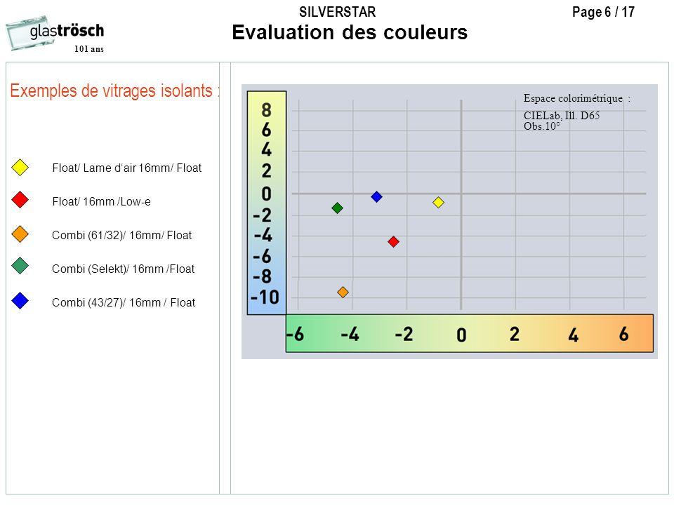 SILVERSTAR Page 6 / 17 101 ans Exemples de vitrages isolants : Evaluation des couleurs Float/ Lame dair 16mm/ Float Float/ 16mm /Low-e Combi (61/32)/