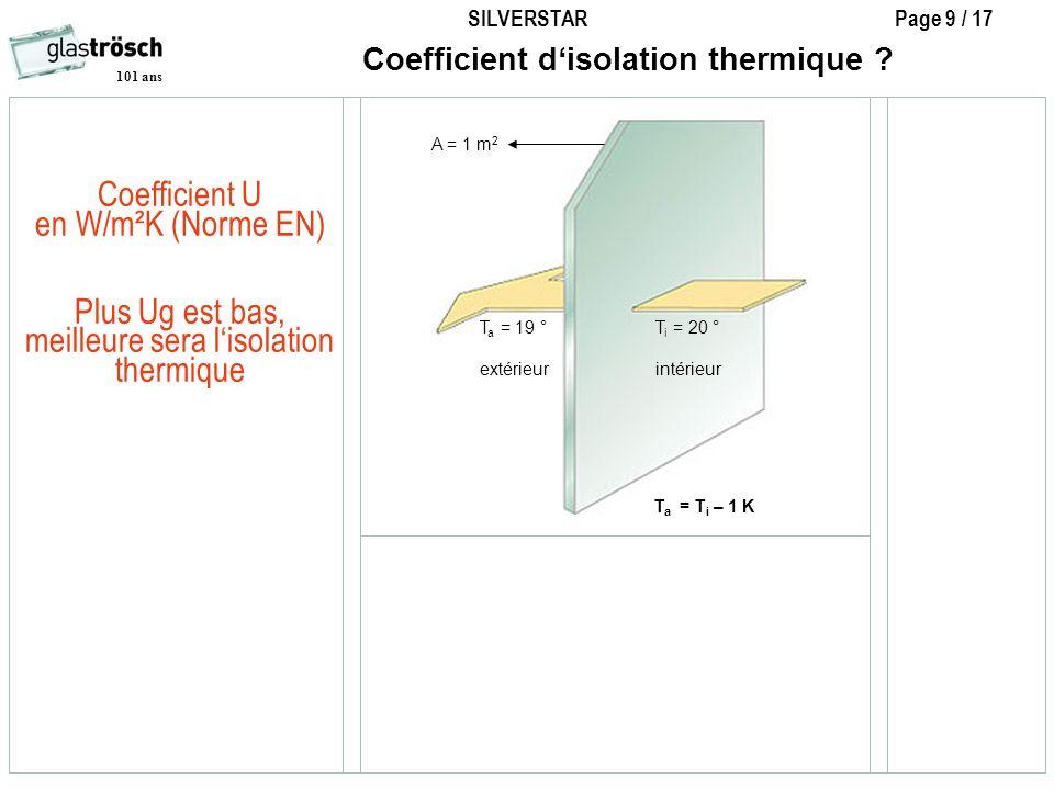SILVERSTAR Page 9 / 17 101 ans A = 1 m 2 T a = 19 ° extérieur T i = 20 ° intérieur T a = T i – 1 K Coefficient disolation thermique ? Coefficient U en