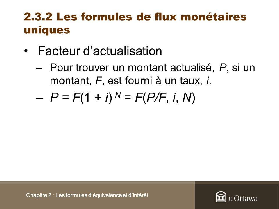 Facteur dactualisation –Pour trouver un montant actualisé, P, si un montant, F, est fourni à un taux, i. –P = F(1 + i) -N = F(P/F, i, N) Chapitre 2 :