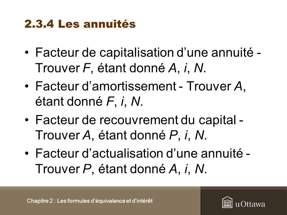 2.3.4 Les annuités Facteur de capitalisation dune annuité - Trouver F, étant donné A, i, N. Facteur damortissement - Trouver A, étant donné F, i, N. F