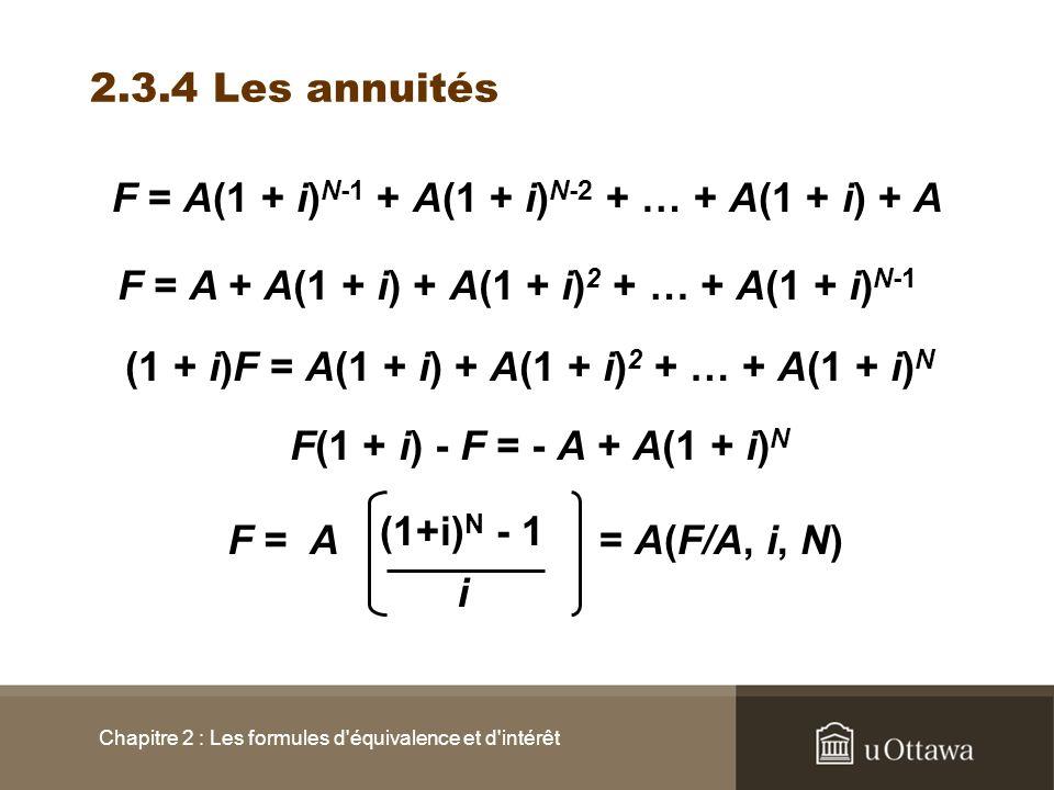 2.3.4 Les annuités Chapitre 2 : Les formules d'équivalence et d'intérêt F = A(1 + i) N-1 + A(1 + i) N-2 + … + A(1 + i) + A F = A + A(1 + i) + A(1 + i)