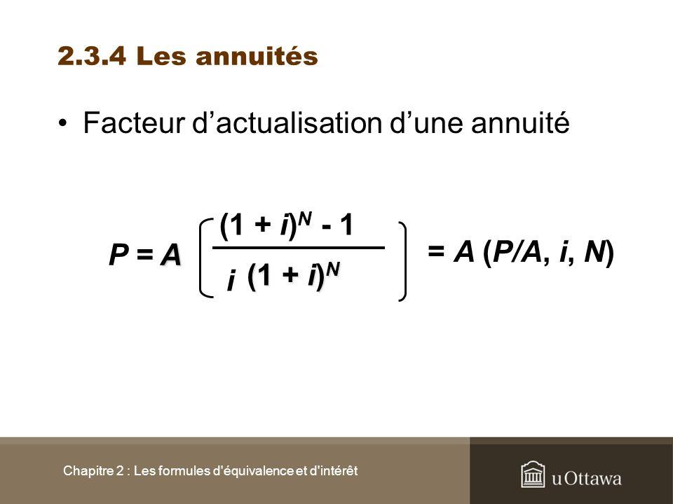2.3.4 Les annuités Facteur dactualisation dune annuité Chapitre 2 : Les formules d'équivalence et d'intérêt (1 + i) N - 1 P =A i (1 + i) N = A (P/A, i