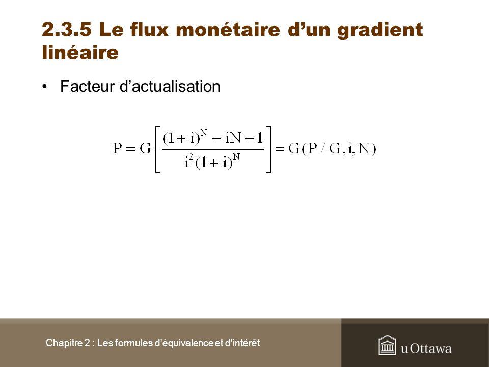 2.3.5 Le flux monétaire dun gradient linéaire Facteur dactualisation Chapitre 2 : Les formules d'équivalence et d'intérêt