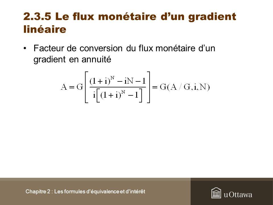 2.3.5 Le flux monétaire dun gradient linéaire Facteur de conversion du flux monétaire dun gradient en annuité Chapitre 2 : Les formules d'équivalence