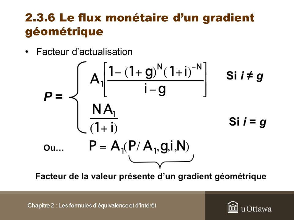 2.3.6 Le flux monétaire dun gradient géométrique Facteur dactualisation Chapitre 2 : Les formules d'équivalence et d'intérêt