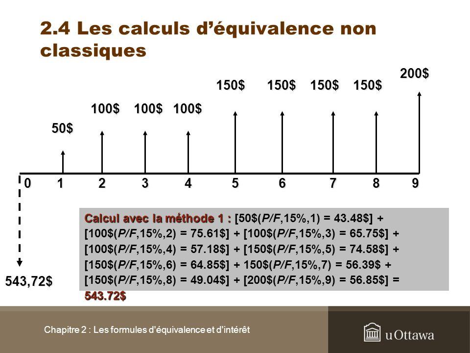 Chapitre 2 : Les formules d'équivalence et d'intérêt 2.4 Les calculs déquivalence non classiques 0145362 50$ 100$ 150$200$100$100$ 150$150$150$ 789 54