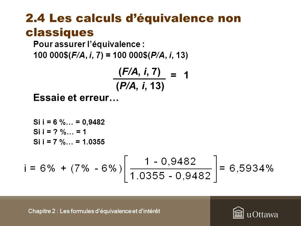 Chapitre 2 : Les formules d'équivalence et d'intérêt 2.4 Les calculs déquivalence non classiques Pour assurer léquivalence : 100 000$(F/A, i, 7) = 100