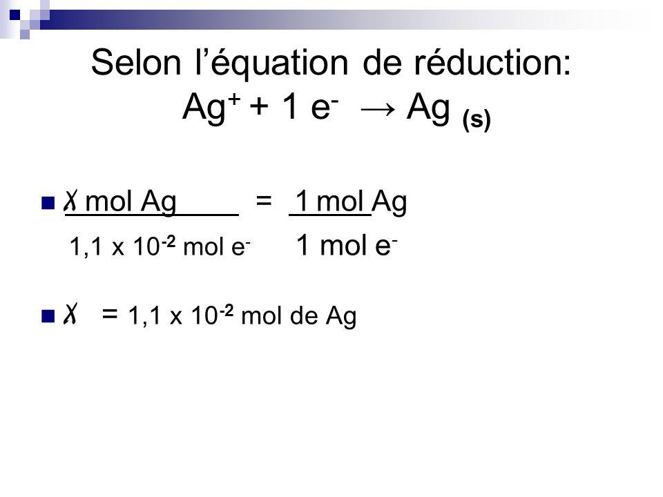 Selon léquation de réduction: Ag + + 1 e - Ag (s) X mol Ag = 1 mol Ag 1,1 x 10 -2 mol e - 1 mol e - X = 1,1 x 10 -2 mol de Ag
