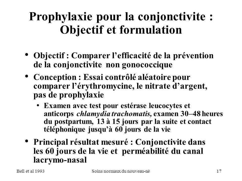 17Soins normaux du nouveau-né Prophylaxie pour la conjonctivite : Objectif et formulation Objectif : Comparer lefficacité de la prévention de la conjo