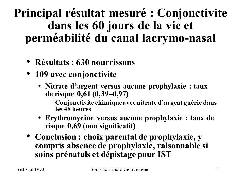 18Soins normaux du nouveau-né Principal résultat mesuré : Conjonctivite dans les 60 jours de la vie et perméabilité du canal lacrymo-nasal Résultats :