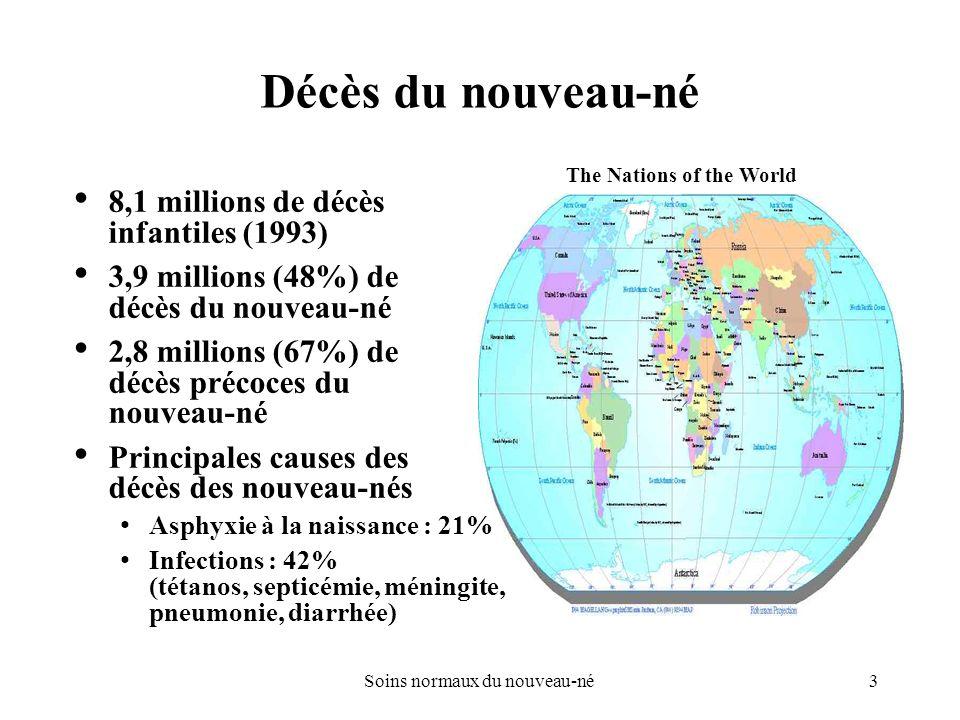 3Soins normaux du nouveau-né Décès du nouveau-né 8,1 millions de décès infantiles (1993) 3,9 millions (48%) de décès du nouveau-né 2,8 millions (67%)