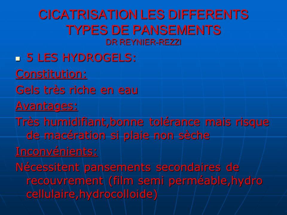 5 LES HYDROGELS: 5 LES HYDROGELS:Constitution: Gels très riche en eau Avantages: Très humidifiant,bonne tolérance mais risque de macération si plaie n