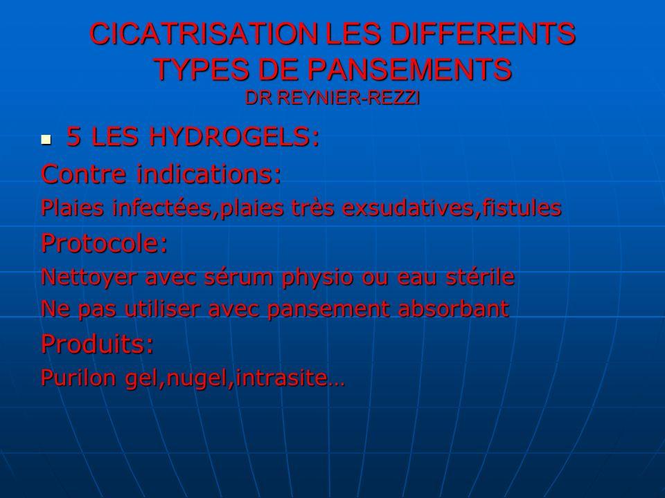 5 LES HYDROGELS: 5 LES HYDROGELS: Contre indications: Plaies infectées,plaies très exsudatives,fistules Protocole: Nettoyer avec sérum physio ou eau s