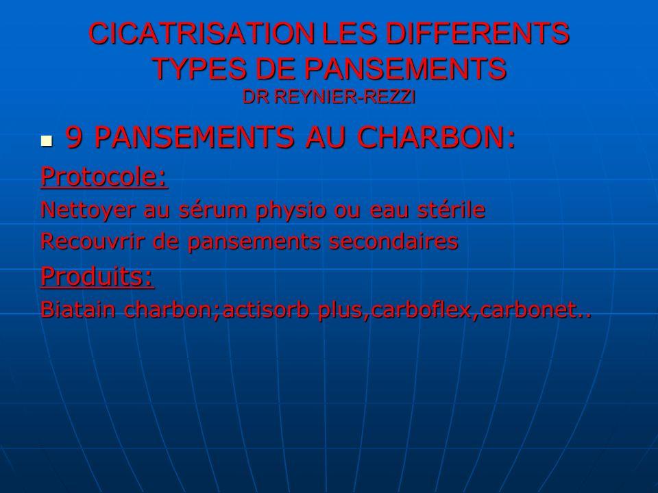 CICATRISATION LES DIFFERENTS TYPES DE PANSEMENTS DR REYNIER-REZZI 9 PANSEMENTS AU CHARBON: 9 PANSEMENTS AU CHARBON:Protocole: Nettoyer au sérum physio
