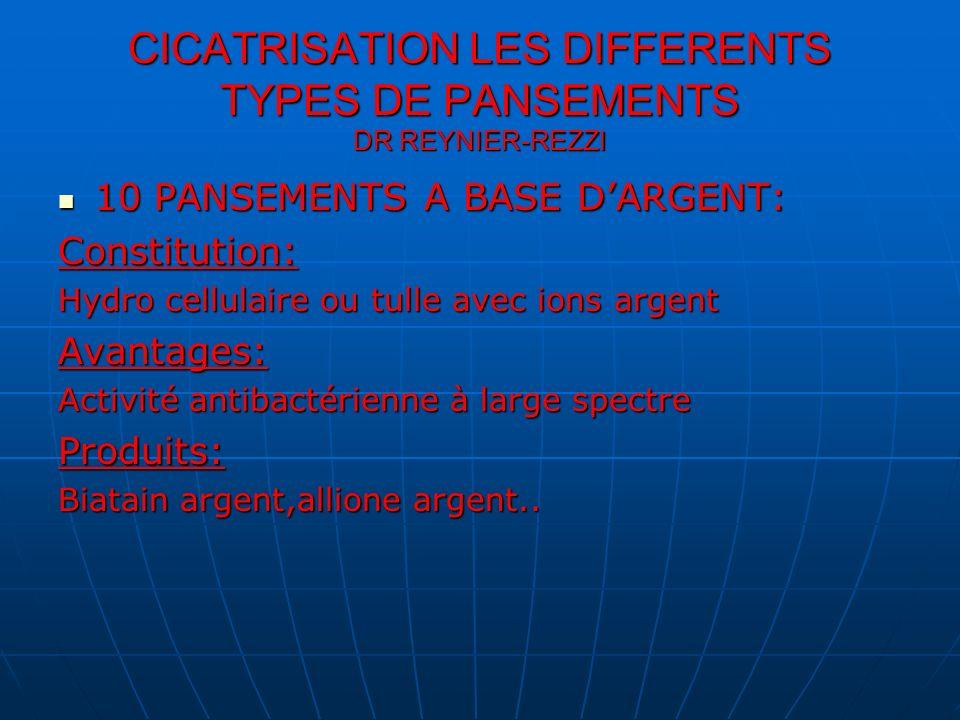 CICATRISATION LES DIFFERENTS TYPES DE PANSEMENTS DR REYNIER-REZZI 10 PANSEMENTS A BASE DARGENT: 10 PANSEMENTS A BASE DARGENT:Constitution: Hydro cellu