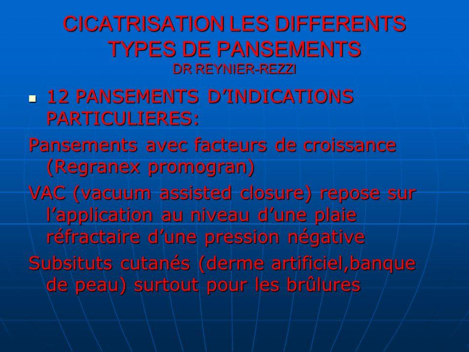 CICATRISATION LES DIFFERENTS TYPES DE PANSEMENTS DR REYNIER-REZZI 12 PANSEMENTS DINDICATIONS PARTICULIERES: 12 PANSEMENTS DINDICATIONS PARTICULIERES: