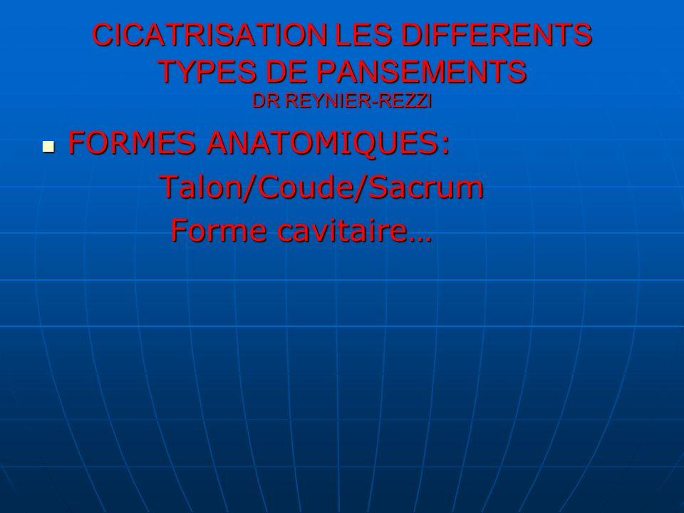 CICATRISATION LES DIFFERENTS TYPES DE PANSEMENTS DR REYNIER-REZZI FORMES ANATOMIQUES: FORMES ANATOMIQUES: Talon/Coude/Sacrum Talon/Coude/Sacrum Forme