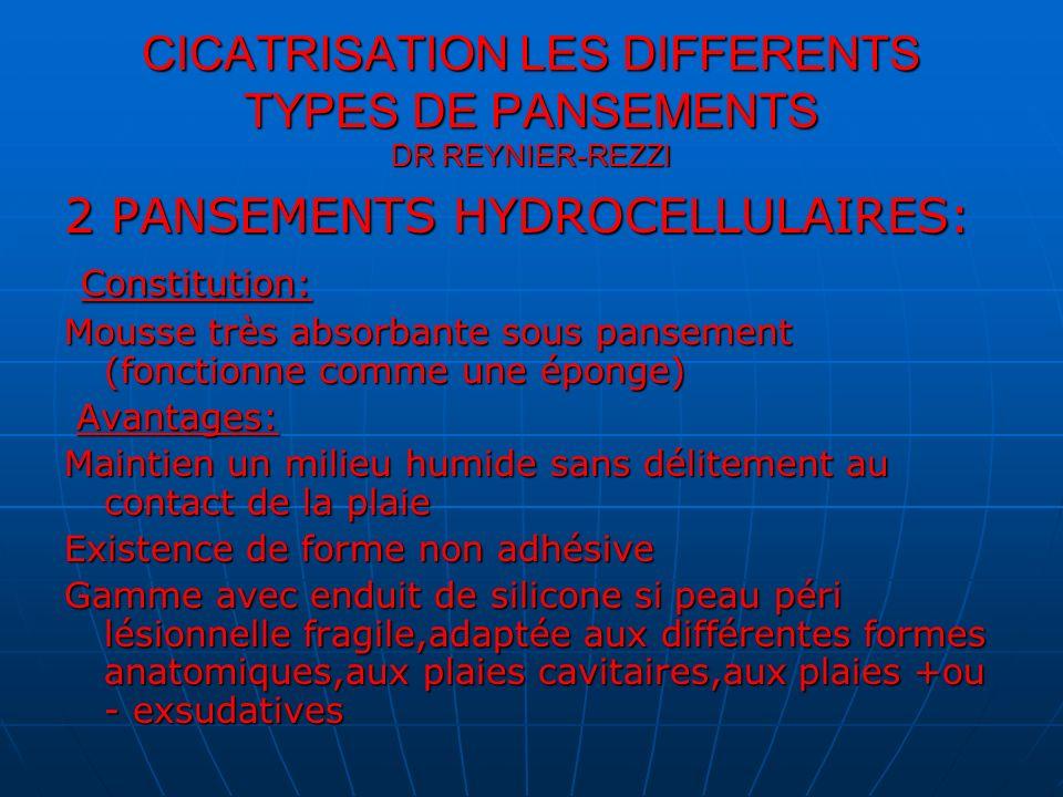 CICATRISATION LES DIFFERENTS TYPES DE PANSEMENTS DR REYNIER-REZZI 2 PANSEMENTS HYDROCELLULAIRES: Inconvénients: Inconvénients: Formes adhésives parfois traumatisante à lablation du pansement allergie de contact aux colles Contre indications: Contre indications: Plaies infectées Protocole: Protocole: Désinfecter avec sérum physio