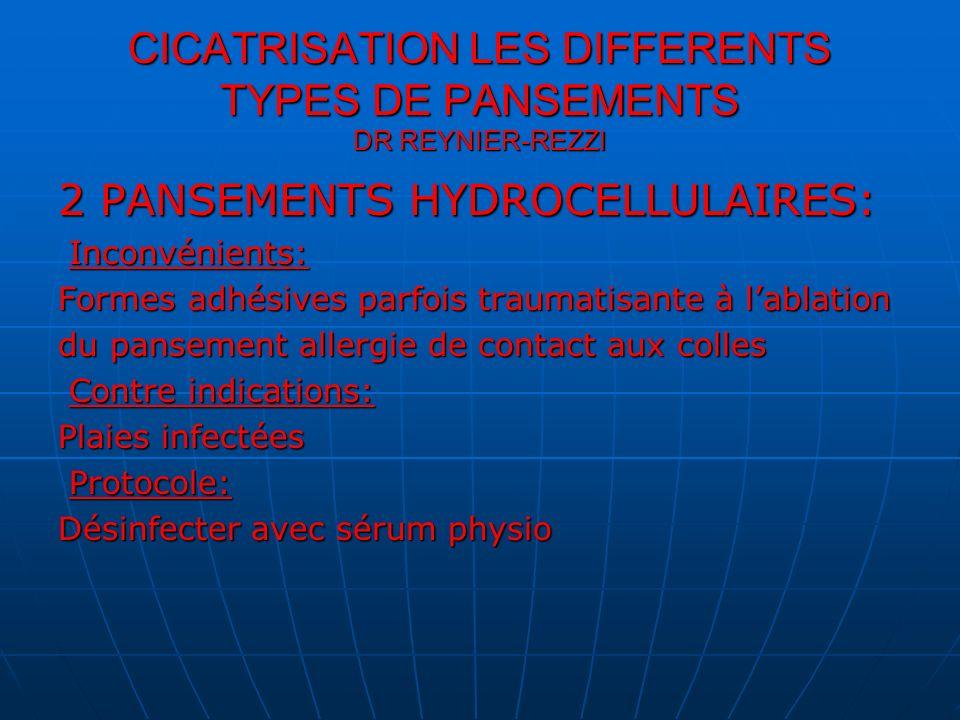 CICATRISATION LES DIFFERENTS TYPES DE PANSEMENTS DR REYNIER-REZZI 2 PANSEMENTS HYDROCELLULAIRES Les produits: Les produits: Biatain ulcère escarre,tielle plaque sacrum tielle s,allevyn adhesif cavity sacrum,mepilex… Biatain ulcère escarre,tielle plaque sacrum tielle s,allevyn adhesif cavity sacrum,mepilex…