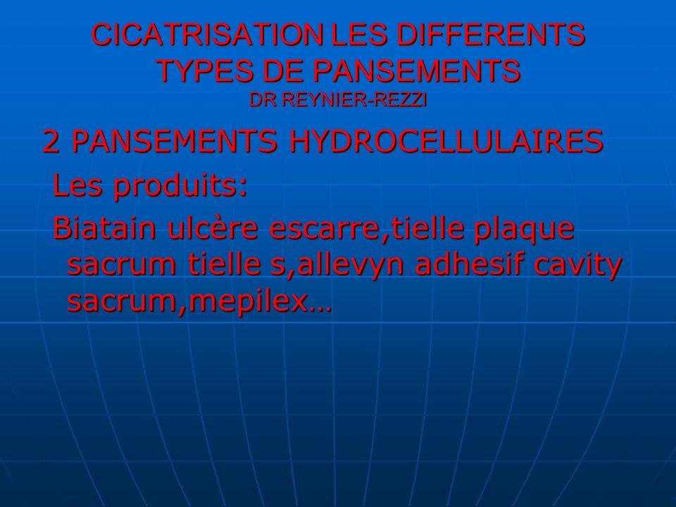 CICATRISATION LES DIFFERENTS TYPES DE PANSEMENTS DR REYNIER-REZZI 2 PANSEMENTS HYDROCELLULAIRES Les produits: Les produits: Biatain ulcère escarre,tie