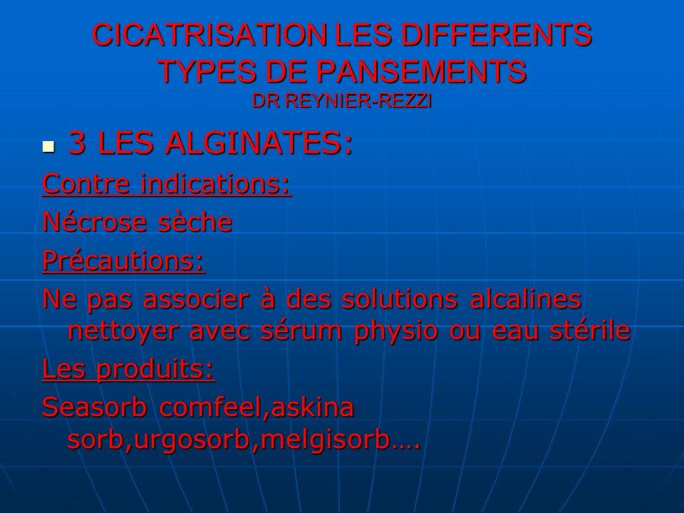 CICATRISATION LES DIFFERENTS TYPES DE PANSEMENTS DR REYNIER-REZZI 3 LES ALGINATES: 3 LES ALGINATES: Contre indications: Nécrose sèche Précautions: Ne