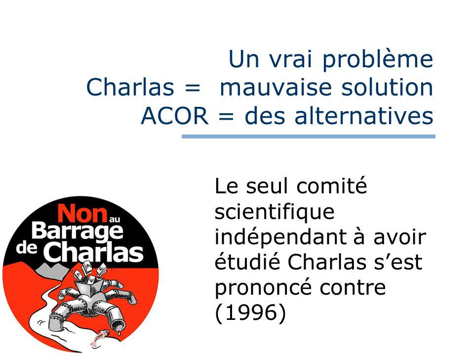 Un vrai problème Charlas = mauvaise solution ACOR = des alternatives Le seul comité scientifique indépendant à avoir étudié Charlas sest prononcé cont