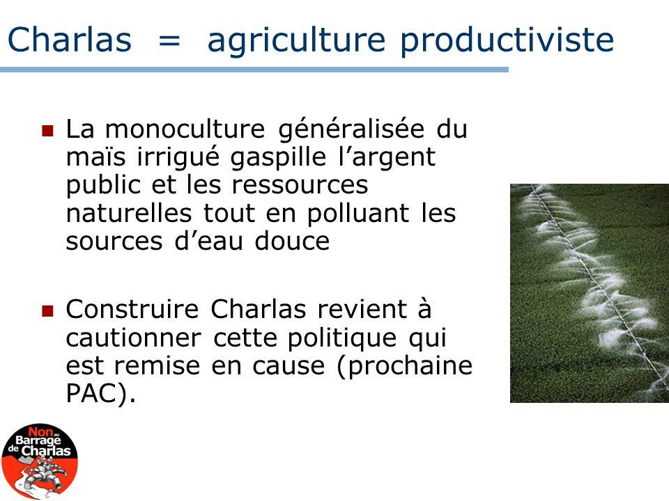 Charlas = agriculture productiviste La monoculture généralisée du maïs irrigué gaspille largent public et les ressources naturelles tout en polluant l