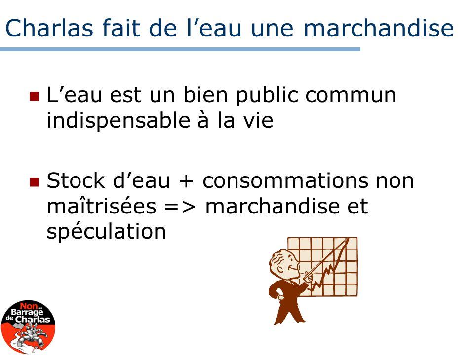 Charlas fait de leau une marchandise Leau est un bien public commun indispensable à la vie Stock deau + consommations non maîtrisées => marchandise et