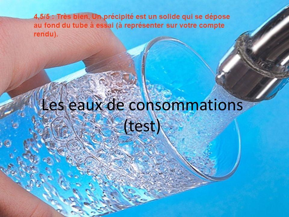 Les eaux de consommations (test) 4,5/5 : Très bien. Un précipité est un solide qui se dépose au fond du tube à essai (à représenter sur votre compte r