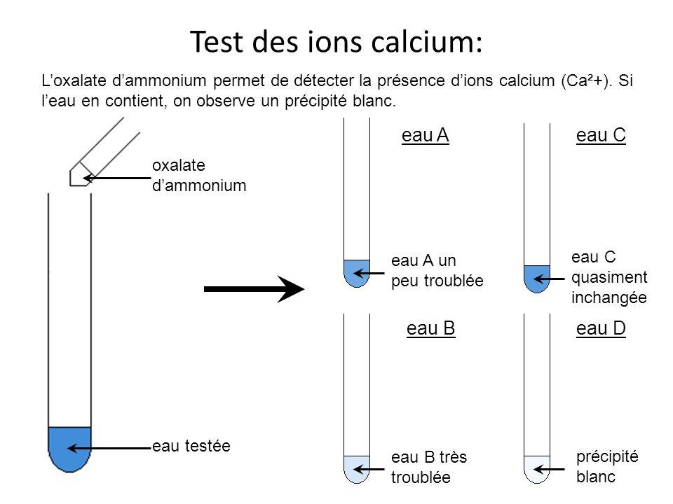 Test des ions calcium: oxalate dammonium eau testée Loxalate dammonium permet de détecter la présence dions calcium (Ca²+). Si leau en contient, on ob